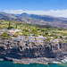 View from the North Atlantic to the steep coast and landscape of Laguna de Santiago on La Gomera, Spain