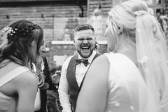 DocuWed - Laughs (Robbie Khan) Tags: 35mm 5d 85mm brookfieldbarn brighton candid canon documentary hampshirewedding hampshireweddings khanphoto koweddings moments natural portrait wedding weddingphotographer weddingphotography weddings bnw bw blackandwhite reportage