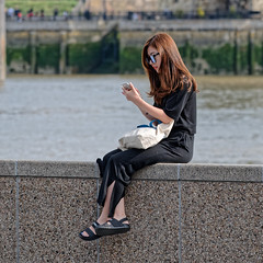 Girl on a Wall (Croydon Clicker) Tags: woman girl wall sitting selfie london southbank