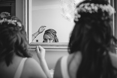 DocuWed - Hair tuning (Robbie Khan) Tags: 35mm 5d 85mm brookfieldbarn brighton candid canon documentary hampshirewedding hampshireweddings khanphoto koweddings moments natural portrait wedding weddingphotographer weddingphotography weddings bnw bw blackandwhite reportage