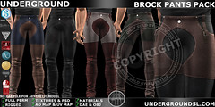 UG BROCK PANTS PACK MP ([:.UNDERGROUND & JUSTICE.:]) Tags: secondlife fashion avatar virtualworld 3d 2ndlife slink belleza jake signature gianni geralt aesthetic