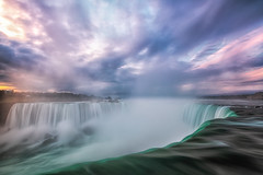 Niagara Falls Sunrise (B.E.K. Photography) Tags: sunrise niagara falls horseshoe ontario canada morning river water clouds mist steam fog orange pink purple white green aquamarine turquoise longexposure autumn fall nikond850 bek briankrouskie outdoor landscape