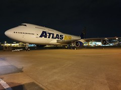 Photo of Atlas Air Boeing 747-400. Waiting to take Liverpool fc to the US