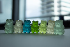 some cute sh*t. (// P*) Tags: photography gummybears colors green blue depthoffield dof blurry blurrybackground