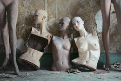 ...three's company... (Art in Entropy) Tags: abandoned house mannequins light photography art statue urbex urban explore exploration adventure decay derelict lost history model grime creepy sony sonyalpha entropy