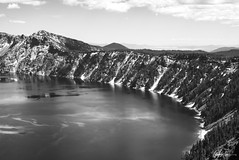 Impressions of Crater Lake: Over The Rim (g-liu) Tags: oregon crater lake nationalpark blackandwhite monochrome usa west sky water darktable sony a6500 july 2018 daylight daytime contrast reflection trees evergreen slopes caldera round volcano partlycloudy