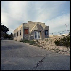 Busted church rehab (ADMurr) Tags: california 29 palms twentynine arch front house new windows hasselblad 500cm 50mm zeiss distagon film mf 6x6 dba680edit fujipro400