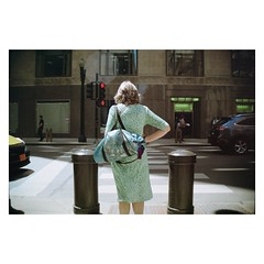 Lady in Green? (Red-the-daydreamer) Tags: street photography chicago downtown city stranger dress green kodak colorplus 200 films filmisnotdead deathb4digital