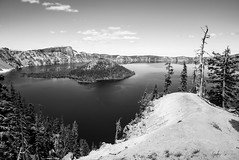 Impressions of Crater Lake: Overlook (g-liu) Tags: oregon crater lake nationalpark blackandwhite monochrome usa west sky water darktable sony a6500 july 2018 daylight daytime contrast reflection trees evergreen slopes caldera round island volcano partlycloudy
