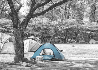 Homeless in a Blue Tent