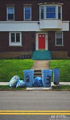 2_3 (Hi-Fi Fotos) Tags: sidewalk garbage trash can pile rubbish refuse curb apartment buidling red door street lines green steps windows nikkor 40mm micro 28 nikon d7200 dx hififotos hallewell