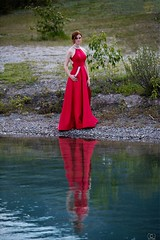 Water's Edge (Christy Turner Photography) Tags: nature beauty beautiful reddress rockies alberta mountains lake reflection canada