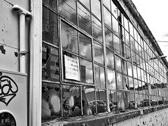 Closed Shop (Ellery Images) Tags: window lines reflection blackandwhite monochrome elleryimages urban sign broken glass shop abandoned closed