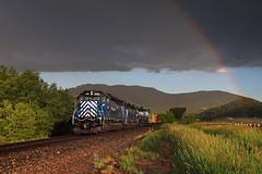 Bozeman descent (Moffat Road) Tags: montanaraillink mrl emd sd45 355 chestnut bozeman montana train railroad locomotive mrlsecondsub mrl2ndsub rainbow rain storm bozemanpass rainy mt bozemanturn