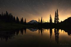 Enchanting Reflections (jeremyjonkman) Tags: mount rainer national park washington mountain lake tarn night stars sky reflection reflections trees forest