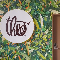 #chocolatefactory #tropical #wallpaper #cocoabean #sign #theochocolate #fremont #seattle #🍫 (Heath & the B.L.T. boys) Tags: instagram wallpaper seattle chocolate sign