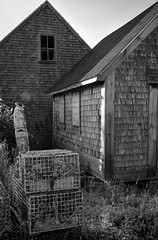 architectural forms, shingled, weathered, lobster traps, buoy, Owl's Head, Maine, Nikon D3300, Sigma 18-50mm EX DC MACRO, 7.15.19 (steve aimone) Tags: architecture architecturalforms shingled weathered lobstertraps buoy owlshead maine nikond3300 sigma1850mmexdcmacro monochromatic monochrome blackandwhite