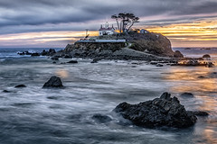 CRESCENT CITY CALIFORNIA (LOURENḉO Photography) Tags: water lighthouse sunset california photo light sun house crescent city island ocean pacific surf rock ship historic art color