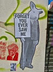 Forget You Ever Saw Me, London, UK (Robby Virus) Tags: london england britain uk unitedkingdom greatbritain british gb street art paste pasted pasteup wheatpaste benjamin irritant rabbit forget you ever saw me sign