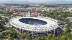 Stadio Olimpico, Rome - March 12, 2018 (oriehnid) Tags: aerial stadium olympic arena lazio rome view italy field play matches seriea national italian football rugby soccer empty grass tribune curve drone goal sport competition maintenance summer architecture world european olympics cheer exterior day nobody closed construction high midfield track athletics stands gate