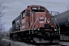 The Fade Of A Common Sight (Brandon .R.) Tags: cn canadian national railroad train rails denmark wi wisconsin bad track