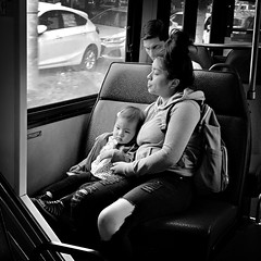 mother and child (Chris Blakeley) Tags: seattle hipstamatic candid bnw streetphotography bus