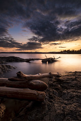 Copper & Cobalt (Kinematic Digit) Tags: longexposure sunset canada clouds waves britishcolumbia logs places victoria vancouverisland driftwood dymanic victora saxepoint blackcardtechnique