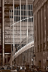Side view of 'Oculus' (sjnnyny) Tags: nyc tribeca streetscape oculus worldtradecenter manhattan calatrava stevenj sjnnyny d7500 lowermanhattan churchstreetmanhattan structure afsnikkor28300f3556rdgvr