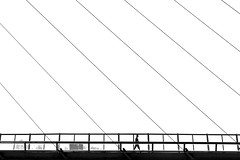 Urban Minimalism (Daniel Nebreda Lucea) Tags: minimal minimalism minimalismo black white blanco negro life urban urbano city ciudad lines lineas pattern patron composition composicion bw monochrome monocromatico canon 60d zaragoza walking andando people gente silhouette silueta silhouettes siluetas bridge puente structure estructura new modern nuevo moderno
