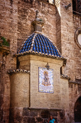 Side chapel (Tigra K) Tags: city blue roof sculpture art church valencia architecture religious spain mural pattern gothic carving ornament tiles dome lantern baroque 2015 valenciaprovince