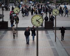 times (Cosimo Matteini) Tags: street people london pen olympus canarywharf clocks m43 ep5 cosimomatteini mzuiko60mmf28 times