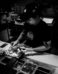 02469376422645-114-19-06-Building a Blaze Pizza-2-Black and White (You have failed me for the last time Jim) Tags: blaze pizzapizza 2019 america fujifilmxt30 fujifilmxf1855mmlens july lasvegas nevada food restaurant summer people monochrome blackandwhite cook