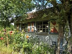 A lovely barn (joeke pieters) Tags: 1480673 panasonicdmcfz150 boxtel noordbrabant nederland netherlands holland schuur barn raam ramen window luiken luik hatch shutter bloemen flowers hetgroenewoud3 boxteloisterwijk