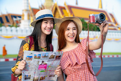 Two asian girlfriends traveling and take photo in Grand Palace and Wat phra kaew (anekphoto) Tags: bangkok travel asian temple thailand wat woman tourist girl happy buddha asia thai palace grand people vacation tourism religion landmark holiday portrait summer pho traveler ancient buddhism famous architecture chinese phra female lifestyle traditional history worship city trip person beautiful style destination outdoor attraction buddhist walking dress sightseeing map kaew