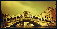 Rialto Bridge (pho-Tony) Tags: belairx612 redscale venice lomographyredscale lomography belair x 612 lomographybelairx612 120 medium format panoramic bellows folder folding 90mm 58mm plastic lens plasticlens automatic lomo lomographic 6x12 6x9 6x6 cityslicker city slicker roll film tetenal c41