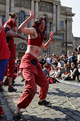 Beltane Fertility Dancing April 2019-130 (Philip Gillespie) Tags: edinburgh city urban scotland canon 5dsr beltane fire society red group dancing music drums beat rhythm pulse fertility mid summer street bodies girls boys men women legs arms faces hands feet eyes expression emotion raw photography colour color outdoor outside sky sun back light lit hair paint body markings pagan young crowd performance event people kids family art festival fringe exhibitionist display ritual drama beltain religious life