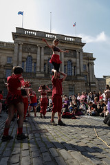 Beltane Fertility Dancing April 2019-108 (Philip Gillespie) Tags: edinburgh city urban scotland canon 5dsr beltane fire society red group dancing music drums beat rhythm pulse fertility mid summer street bodies girls boys men women legs arms faces hands feet eyes expression emotion raw photography colour color outdoor outside sky sun back light lit hair paint body markings pagan young crowd performance event people kids family art festival fringe exhibitionist display ritual drama beltain religious life