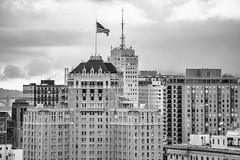 And I Love You in a Place Where There is No Space and Time (Thomas Hawk) Tags: america americanflag bayarea fairmont fairmonthotel markhopkins markhopkinshotel nobhill northerncalifornia sf sfbayarea sanfrancisco usa unitedstates unitedstatesofamerica westcoast bw flag norcal