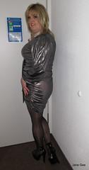 Backs to the wall night (janegeetgirl2) Tags: transvestite crossdresser crossdressing tgirl tv ts trans jane gee platform high heels mini dress gloss shiny tights black silver manchester