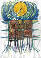 Reach (Moiret) Tags: reach reaching moon moonlight midnight apartment houserow row rows houses street night mood moody melancholy childhood child childlike childish baby boy boyhood dream imagination communication beauty chidllike eager learning teaching love compassion handdrawn freehand hand pen paper crayons illusion elusive lovely longing toddler kid playtime imaginery imagery art artist illustration lina luna late evening inner city streets blocks escaping escapeism existence