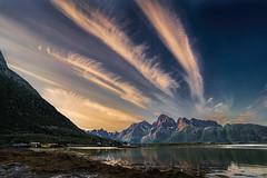 Midnight Sunlight in Norway (StarCitizen) Tags: norway lofoten mountain lake cirrus clouds sunset ice snow water dusk night ngc npc greaterphotographers