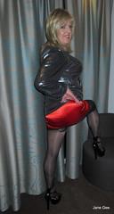 Needed a cool draught (janegeetgirl2) Tags: transvestite crossdresser crossdressing tgirl tv ts trans jane gee platform high heels mini dress gloss shiny tights black silver manchester red satin slip