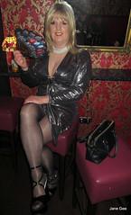 Too shine shine (janegeetgirl2) Tags: transvestite crossdresser crossdressing tgirl tv ts trans jane gee platform high heels mini dress gloss shiny tights black silver manchester canal street