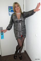 Ready for the off, I had 3 Gordon Fawcett Makeup and go sessions over Sparkle. (janegeetgirl2) Tags: transvestite crossdresser crossdressing tgirl tv ts trans jane gee platform high heels mini dress gloss shiny tights black silver manchester