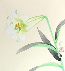 Trumpet lily (Japanese Flower and Bird Art) Tags: flower trumpet lily lilium longiflorum liliaceae kaoru kobayashi modern painting japan japanese art readercollection