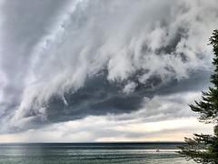 Shelf cloud coming in 😬. (Sandy Hansen Photography) Tags: weather clouds storm lake nature michigan outdoors outside puremichigan northernmichigan upnorth grandtraversebay city traversecity