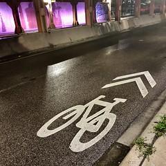 Sharrow (Crawford Brian) Tags: sharrow bike street night viaduct lighting road pavement urban illinois bicycle transportation