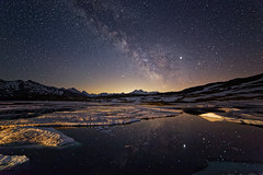 Stars on Ice (eichlera) Tags: switzerland alps mountains grimsel pass sky night stars milkyway wideangle ice snow mirror reflection