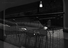 Table and chairs (Lyutik966) Tags: table chair terrace hotel interior shine shadow line floor lamp uglich russia bwartaward