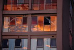 Harnessing Fire (HiJinKs Media...) Tags: windows abstract architecture reflections fire colours colors clouds bristol geometry geometric angles lines light flames intense